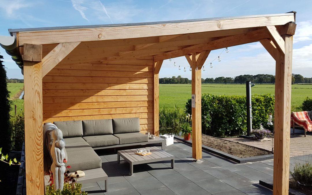 Overkapping hout plat dak